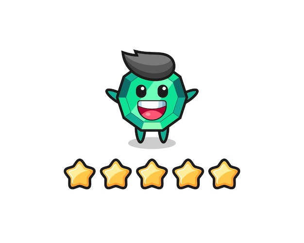 A ilustração da melhor avaliação do cliente, personagem fofo de pedra esmeralda com 5 estrelas, design de estilo fofo para camiseta, adesivo, elemento de logotipo