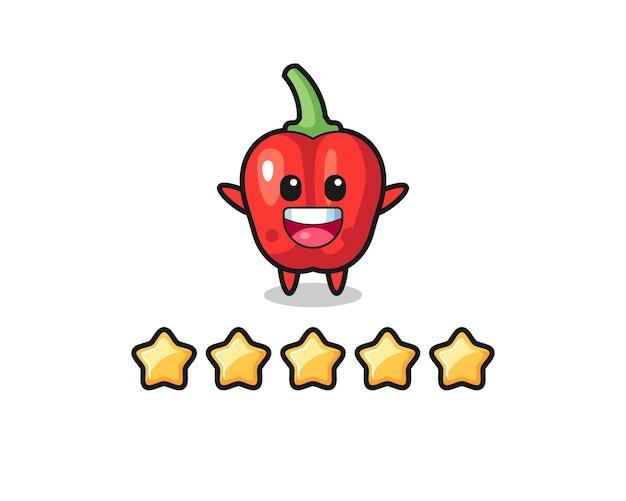 A ilustração da melhor avaliação do cliente, personagem fofo de pimentão vermelho com 5 estrelas, design de estilo fofo para camiseta, adesivo, elemento de logotipo