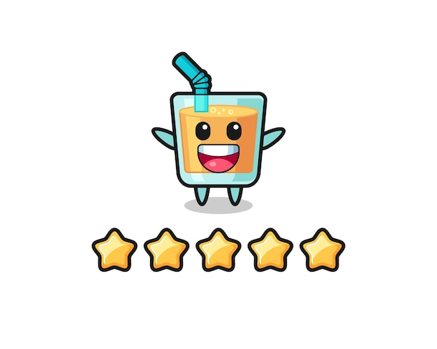 A ilustração da melhor avaliação do cliente, personagem fofo de suco de laranja com 5 estrelas, design de estilo fofo para camiseta, adesivo, elemento de logotipo