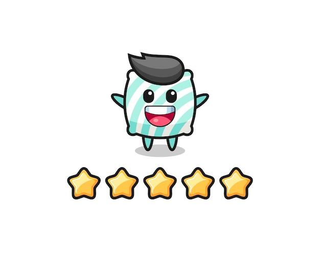 A ilustração da melhor avaliação do cliente, personagem fofo de travesseiro com 5 estrelas, design de estilo fofo para camiseta, adesivo, elemento de logotipo