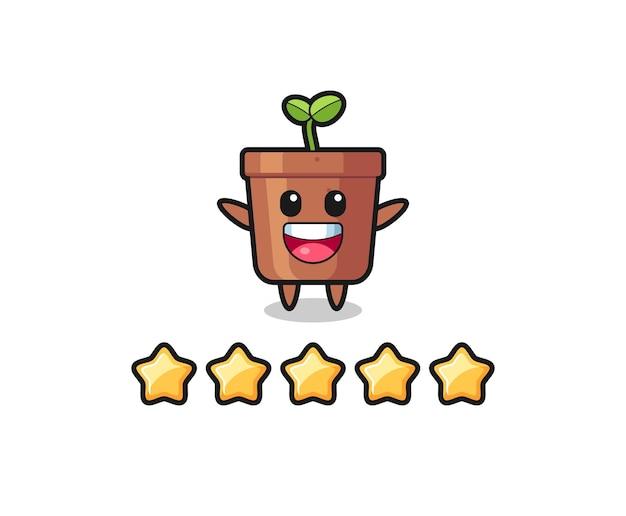 A ilustração da melhor avaliação do cliente, personagem fofo do vaso de plantas com 5 estrelas, design de estilo fofo para camiseta, adesivo, elemento de logotipo