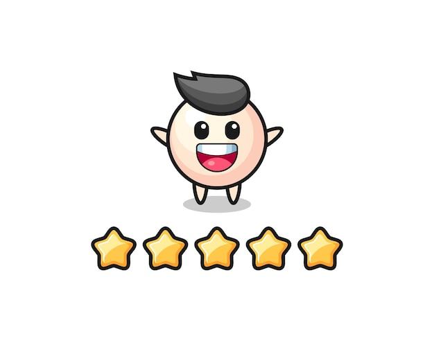 A ilustração da melhor avaliação do cliente, personagem fofo pérola com 5 estrelas, design de estilo fofo para camiseta, adesivo, elemento de logotipo