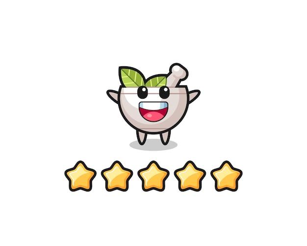 A ilustração da melhor avaliação do cliente, personagem fofo tigela de ervas com 5 estrelas, design de estilo fofo para camiseta, adesivo, elemento de logotipo