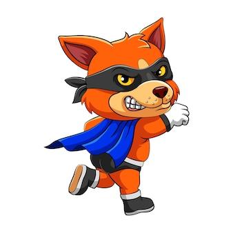 A ilustração da raposa usando máscara preta está em pé com um pé e pose de vôo