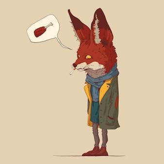 A ilustração da raposa vestida pensando em frango frito