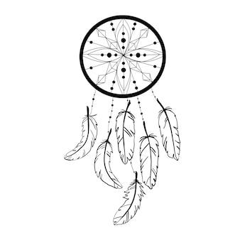 A ilustração da silhueta do dreamcatcher