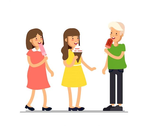A ilustração das crianças que sentem felizes e comem doces como o sorvete. crianças em férias. infância.