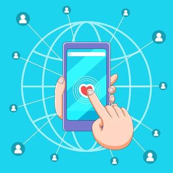 A ilustração das redes sociais no smartphone