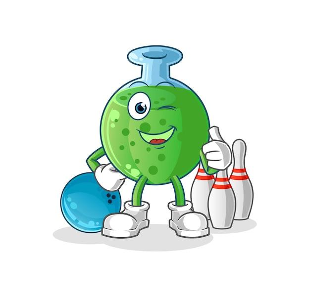A ilustração de boliche do jogo de vidro químico. mascote mascote dos desenhos animados