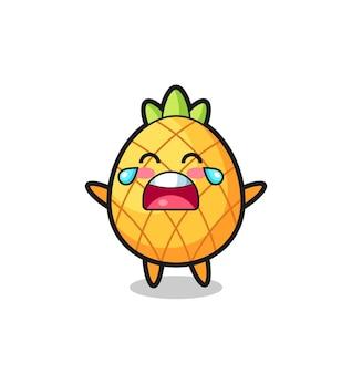 A ilustração de chorar abacaxi bebê fofo, design de estilo fofo para camiseta, adesivo, elemento de logotipo