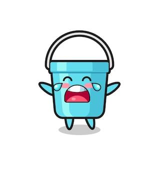 A ilustração de chorar balde de plástico bebê fofo, design de estilo fofo para camiseta, adesivo, elemento de logotipo