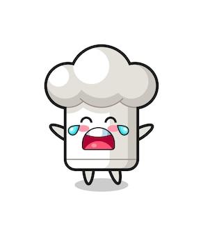 A ilustração de chorar bebê fofo chapéu de chef, design de estilo fofo para camiseta, adesivo, elemento de logotipo