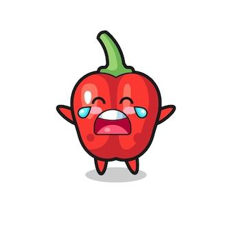 A ilustração de choro de bebê fofo com pimentão vermelho, design de estilo fofo para camiseta, adesivo, elemento de logotipo