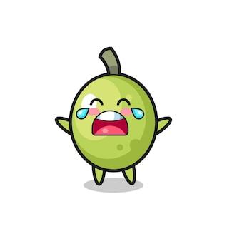 A ilustração de choro de bebê fofo verde-oliva, design de estilo fofo para camiseta, adesivo, elemento de logotipo