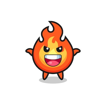A ilustração de fogo fofo fazendo gesto de susto, design de estilo fofo para camiseta, adesivo, elemento de logotipo