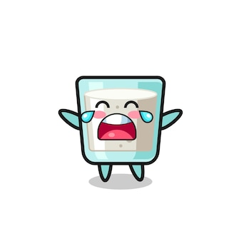 A ilustração de leite chorando bebê fofo, design de estilo fofo para camiseta, adesivo, elemento de logotipo