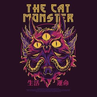 A ilustração de monstro do gato