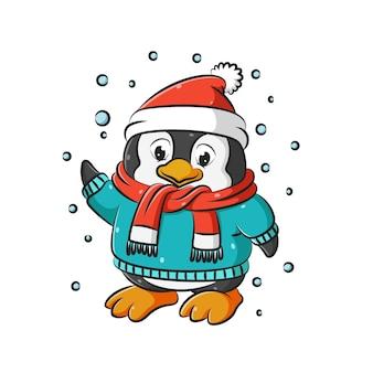 A ilustração de pequenos pinguins com pés grandes usando o suéter e o chapéu vermelho de natal sob a neve