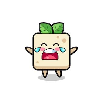 A ilustração de um bebê fofo de tofu chorando, design de estilo fofo para camiseta, adesivo, elemento de logotipo