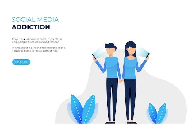 A ilustração de um casal tocando um celular descreve o vício do telefone celular
