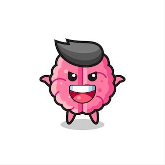 A ilustração de um cérebro fofo fazendo um gesto de susto, design de estilo fofo para camiseta, adesivo, elemento de logotipo