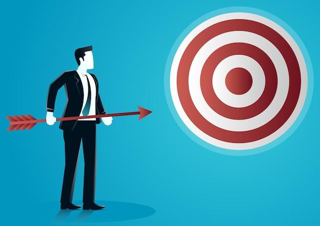 A ilustração de um empresário segurando vai jogar uma flecha no alvo. descreva o negócio alvo.