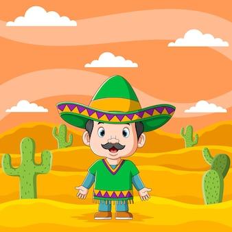 A ilustração de um jovem mexicano usando o chapéu sombrero debaixo da tarde