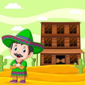 A ilustração de um menino mexicano em pé perto da barra de madeira