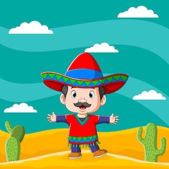 A ilustração de um menino mexicano no deserto com um cacto em volta dele