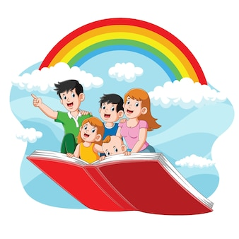 A ilustração de uma família fofa voando com seu livro no lindo céu
