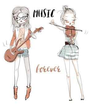 A ilustração de uma linda garota que toca violão e violino