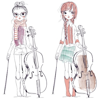 A ilustração de uma linda garota que toca violoncelo