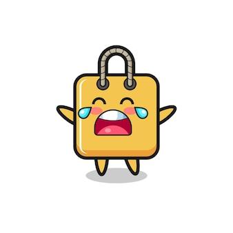 A ilustração de uma sacola de compras chorando, bebê fofo, design de estilo fofo para camiseta, adesivo, elemento de logotipo