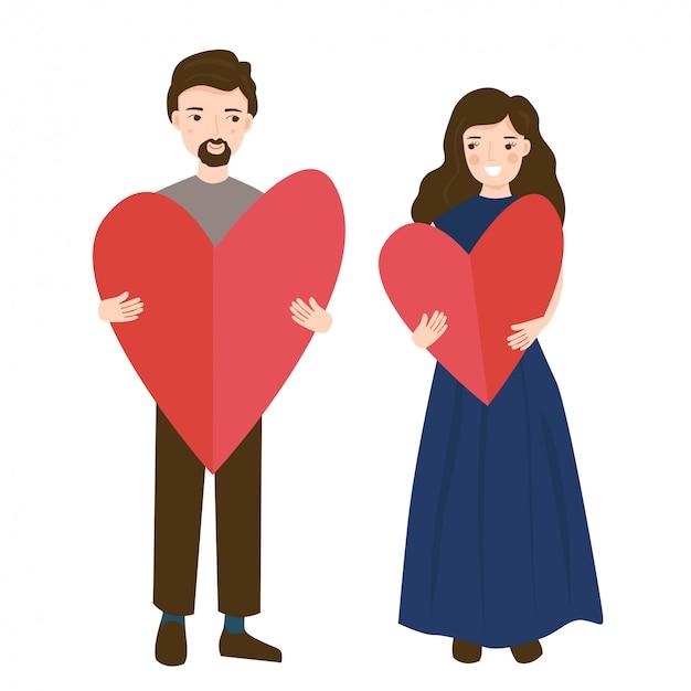 A ilustração de vetcor do feliz casal jovem segurando coração vermelho grande em forma de papel na mão.