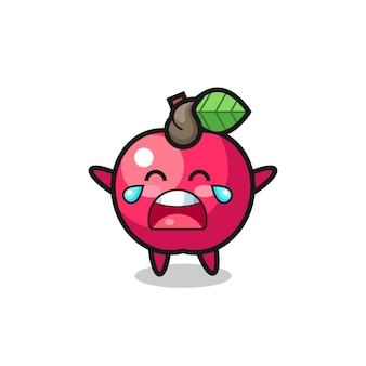 A ilustração do bebê fofo maçã chorando, design de estilo fofo para camiseta, adesivo, elemento de logotipo