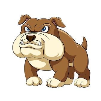 A ilustração do bulldog arrojado está de pé, com corpo grande e dentes afiados