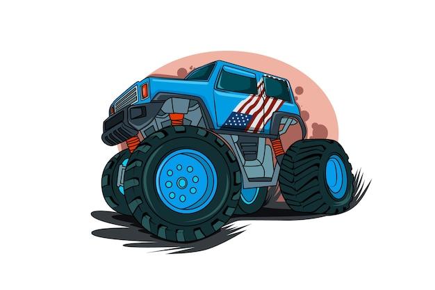 A ilustração do caminhão monstro americano