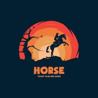 A ilustração do cavaleiro do cavalo cowboy