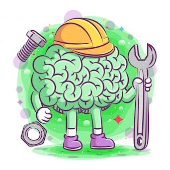 A ilustração do cérebro da construção contém um raio de ilustração