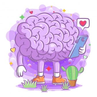 A ilustração do cérebro roxo segura o telefone da ilustração