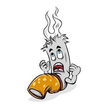 A ilustração do choque do cigarro aceso porque sua cabeça emitindo a fumaça