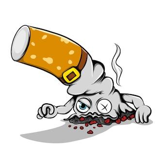 A ilustração do cigarro aceso, derrubando e emitindo a fumaça para curar o mundo