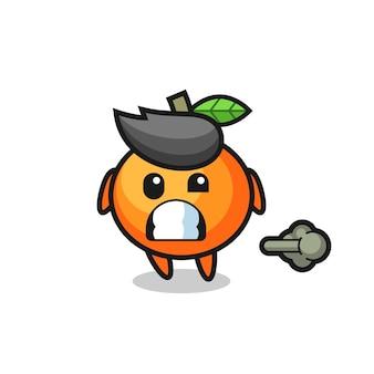 A ilustração do desenho animado da laranja mandarim fazendo peido, design de estilo fofo para camiseta, adesivo, elemento de logotipo