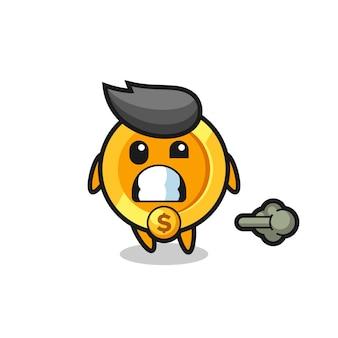 A ilustração do desenho animado da moeda de um dólar fazendo peido, design de estilo fofo para camiseta, adesivo, elemento de logotipo