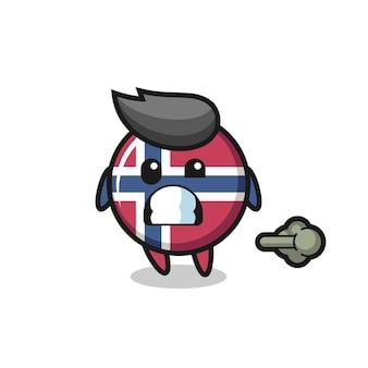A ilustração do desenho animado do distintivo da bandeira da noruega fazendo peido, design de estilo fofo para camiseta, adesivo, elemento de logotipo