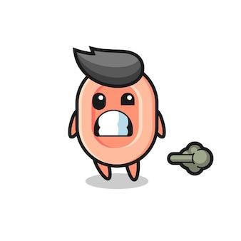 A ilustração do desenho animado fazendo peido, design de estilo fofo para camiseta, adesivo, elemento de logotipo