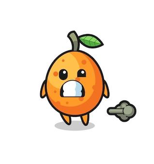 A ilustração do desenho animado kumquat fazendo peido, design de estilo fofo para camiseta, adesivo, elemento de logotipo