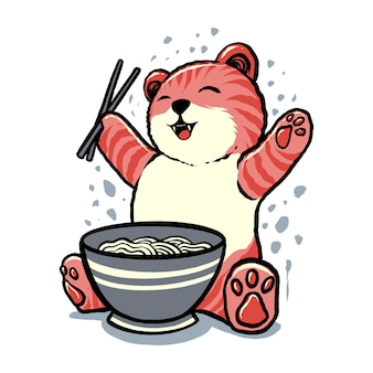 A ilustração do feliz gato ramen