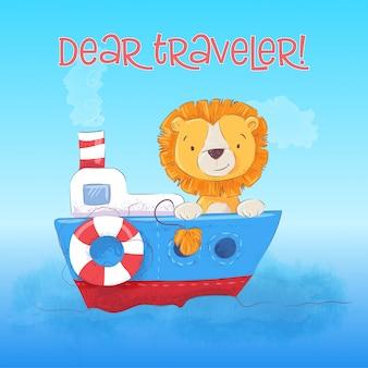 A ilustração do filhote de leão bonito flutua no barco. estilo dos desenhos animados. vetor