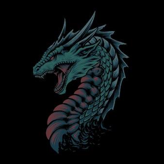 A ilustração do grande dragão vermelho